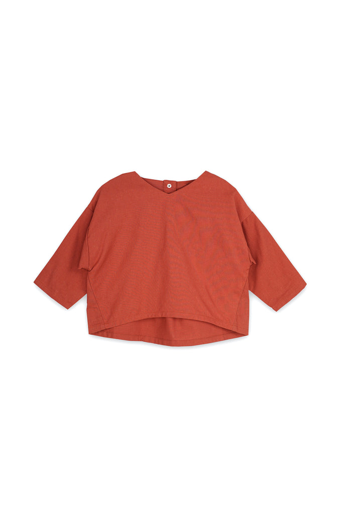The Langit Origami Blouse - Terracotta