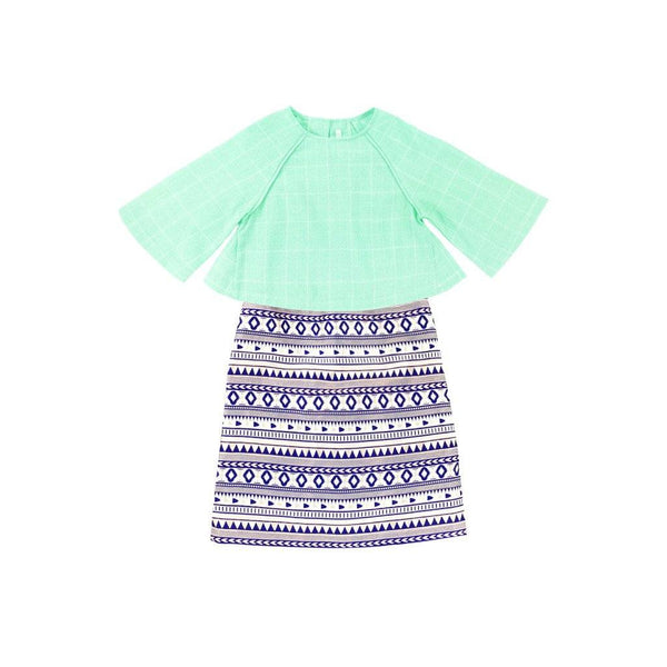 The WAU Festique Baju Kurung Moden - Mint Green Checked