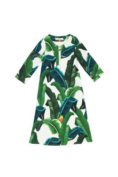 The Tropical Leaves Jubah - White