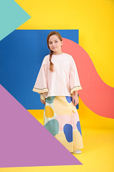 The KITA Poncho Baju Kurung - Light Pink with Sailors Print
