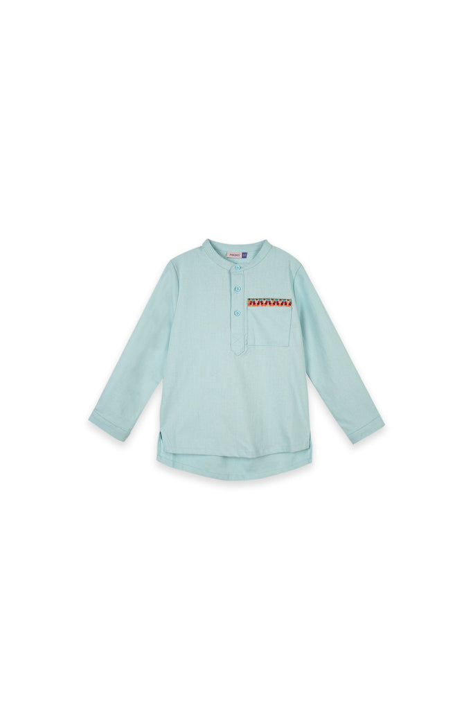 The Oasis Baju Melayu Shirt With Pocket - Light Blue