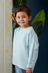 The Cerita HI-LO Blouse - Light Blue