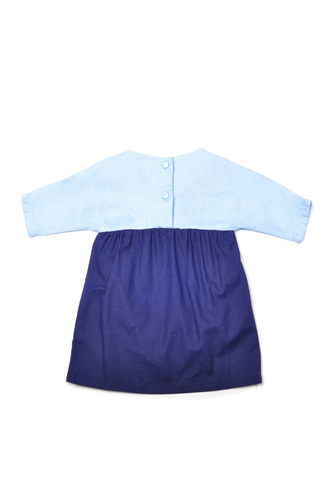 The Pulau Babies Bicolor Dress - Baby Blue with Navy Blue