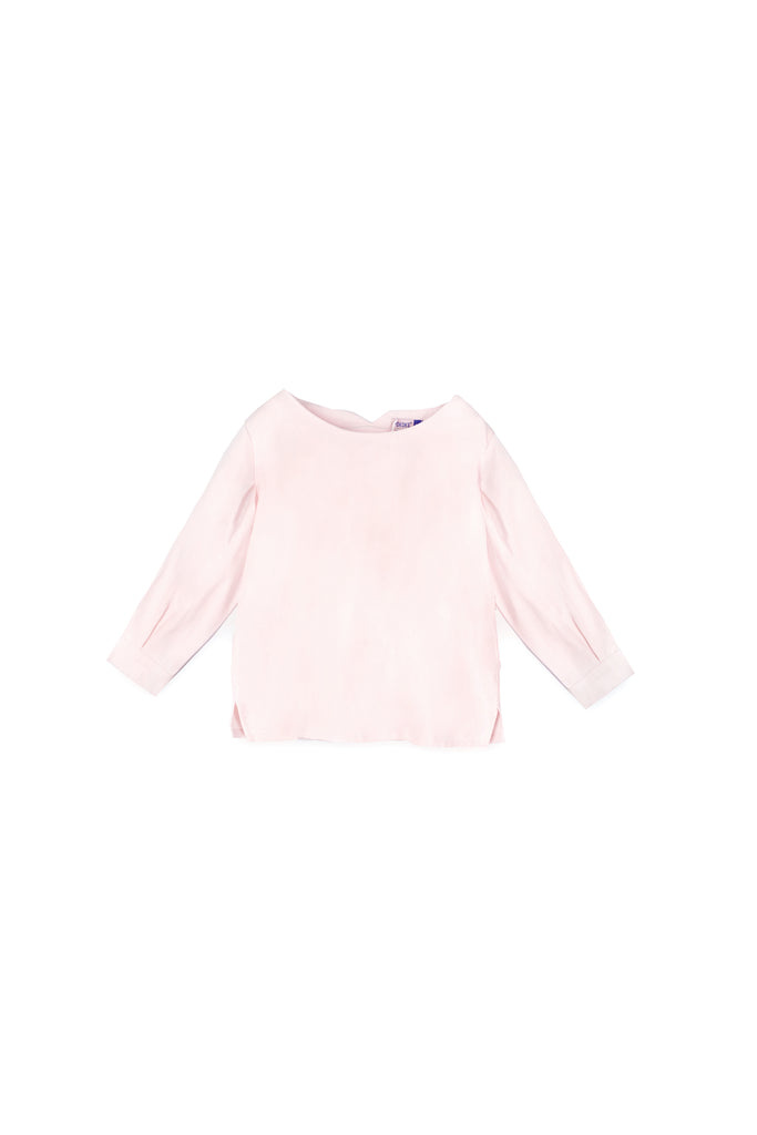 The Oasis Pleated Sleeve Blouse - Light Pink