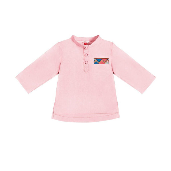 The Serai Ethnic Single Pocket Shirt - Pink