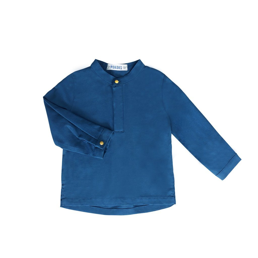 The PULANG Traditional Baju Melayu Top - Peacock Blue