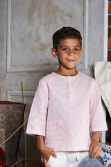 The WAU Linen Top with Pockets - Pastel Pink