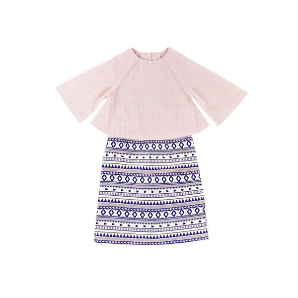 The WAU Festique Baju Kurung Moden - Baby Pink Checked