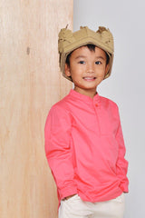 The Limau Mandarin Collar Shirt - Pink Punch