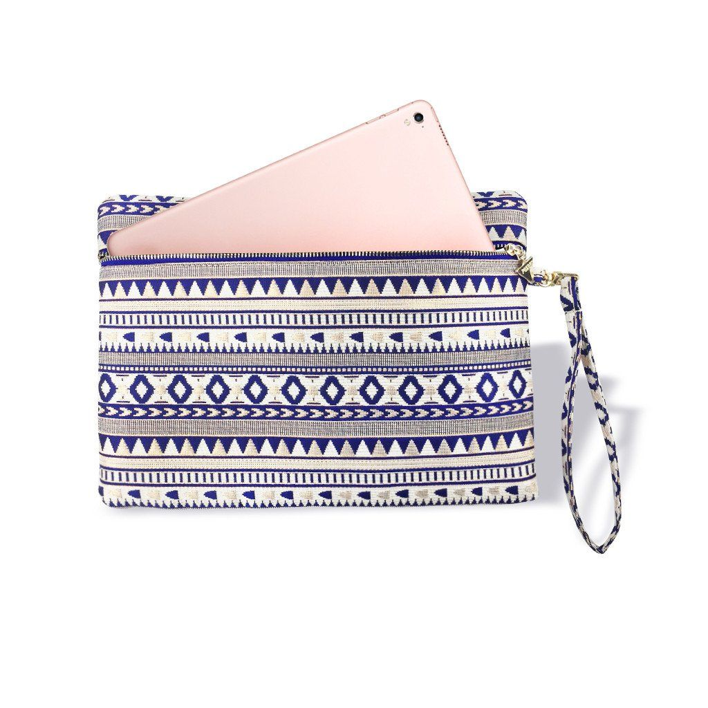 Wristlet pouch royal blue