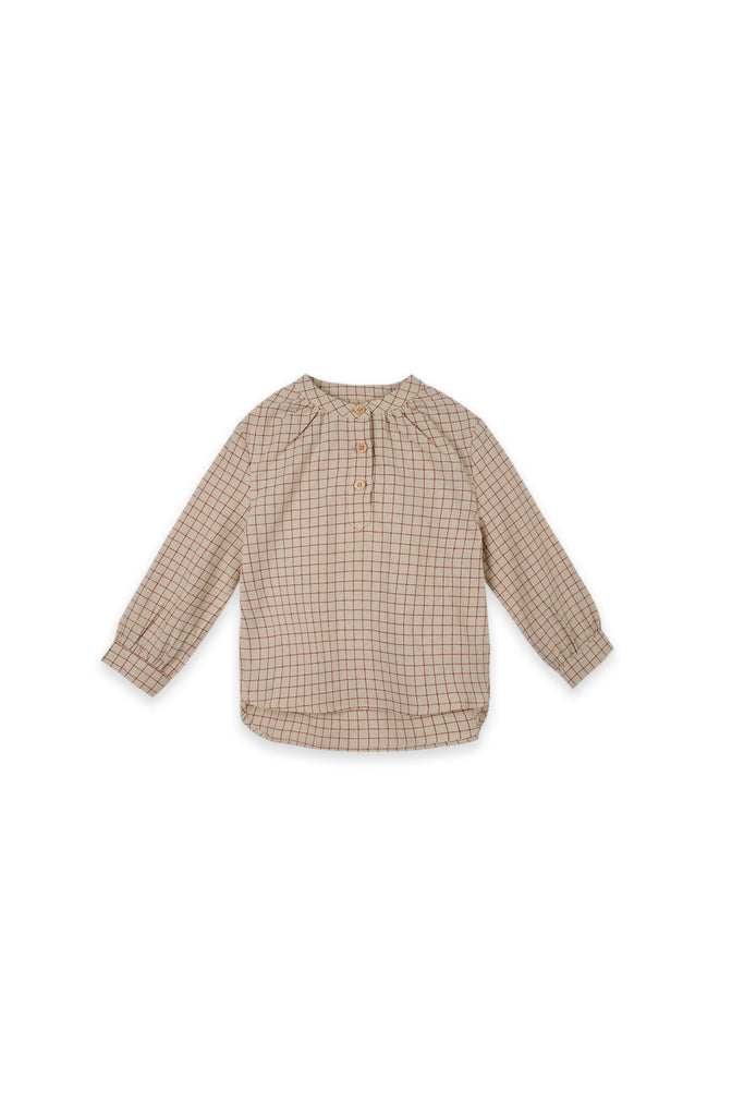 The Oasis Blooming Blouse - Checked Red