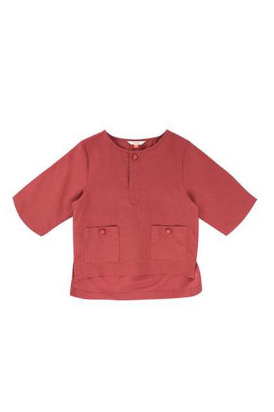 The WAU Linen Top with Pockets - Ruby Red