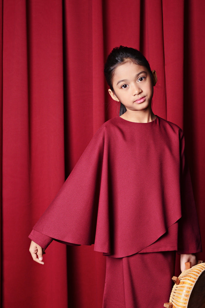 The TALI Overlay Blouse - Maroon