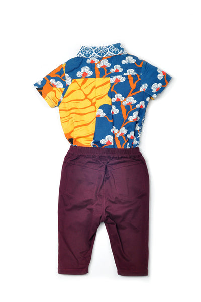The Pulau Babies Batik Jumpsuit with Pants -Sentosa with Mangosteen