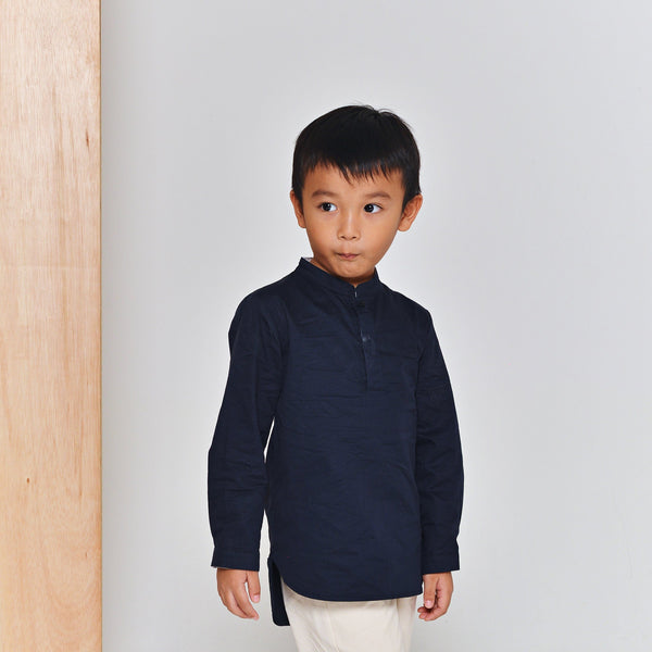 The Limau Mandarin Collar Shirt - Dark Blue