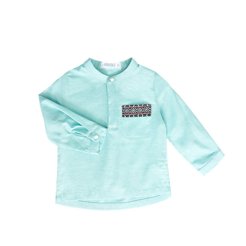 The PULANG Far East Baju Melayu Top - Tiffany Blue