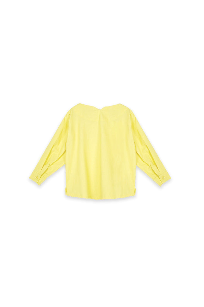 The Oasis Pleated Sleeve Blouse - Lemon Yellow