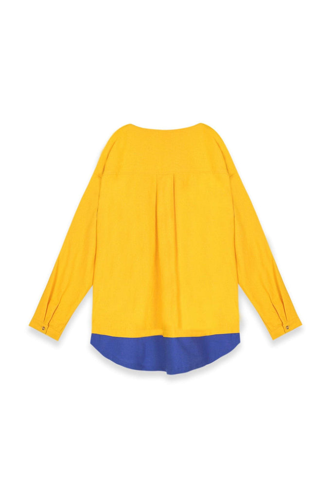 The Teratai Adults Unisex Mock Layer Top - Mustard / Royal Blue - POKOKS.COM