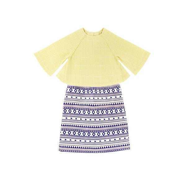 The WAU Festique Baju Kurung Moden - Yellow Checked