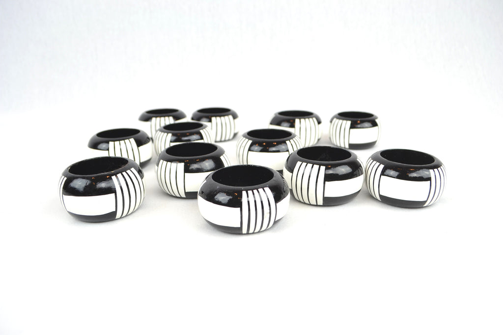 Hand Painted Wooden Napkin Ring Set Of 12 Arden Court Vintage