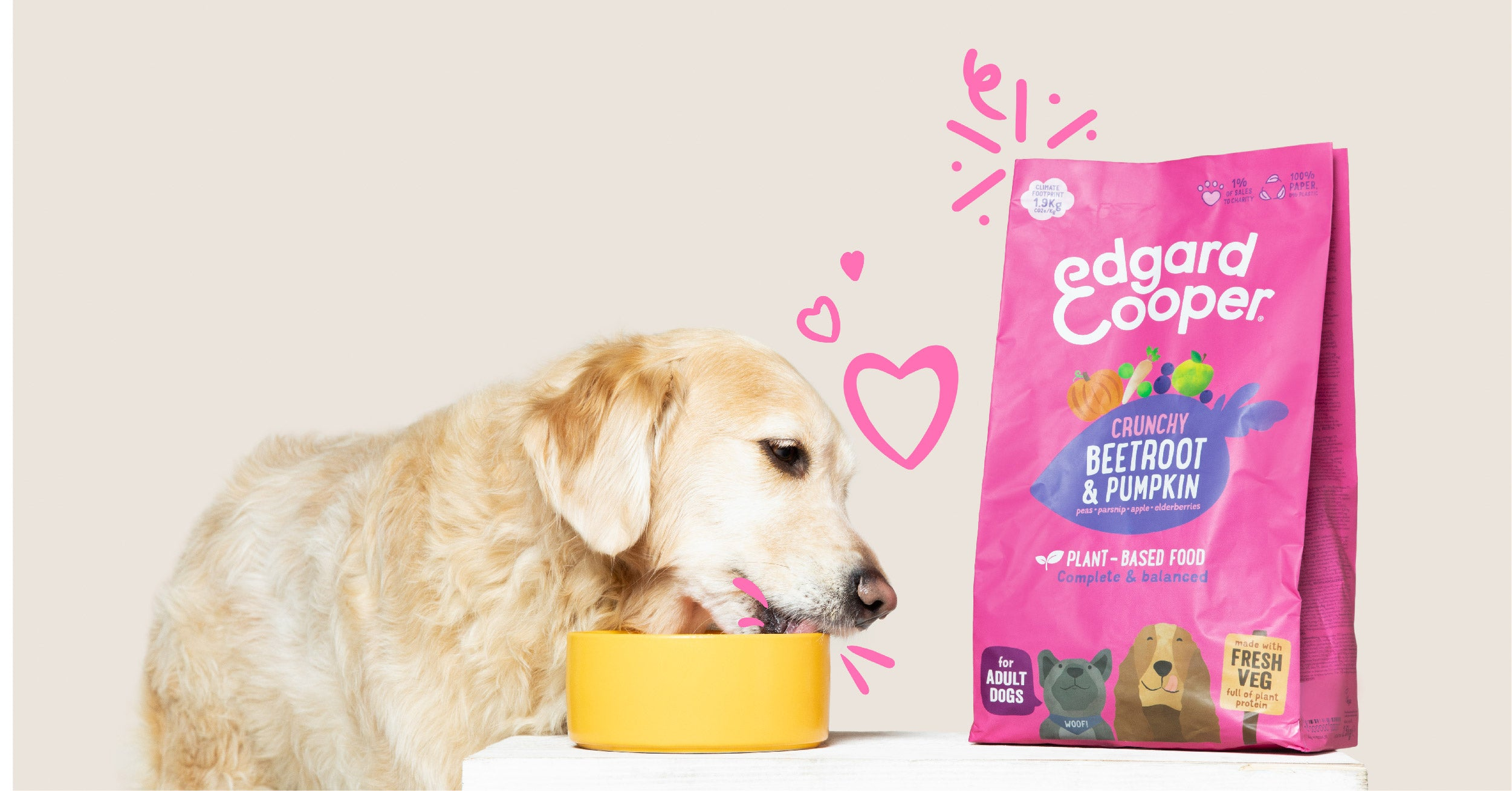 Picture of dog eating Edgard & Cooper plant-based recipe with Beetroot & Pumpkin