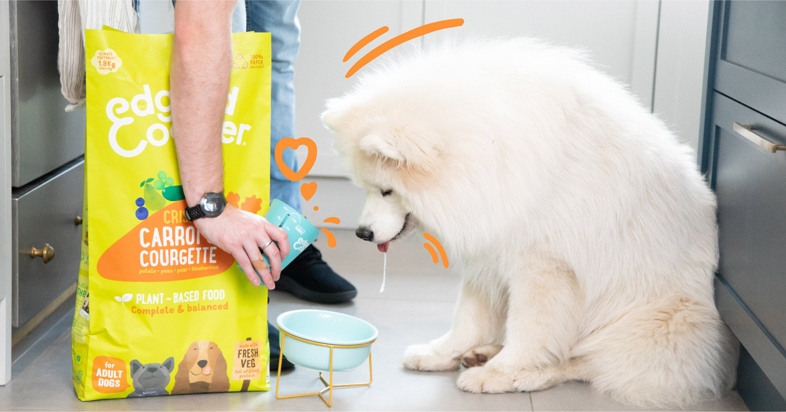 Picture of dog drooling over Edgard & Cooper plant-based kibble.