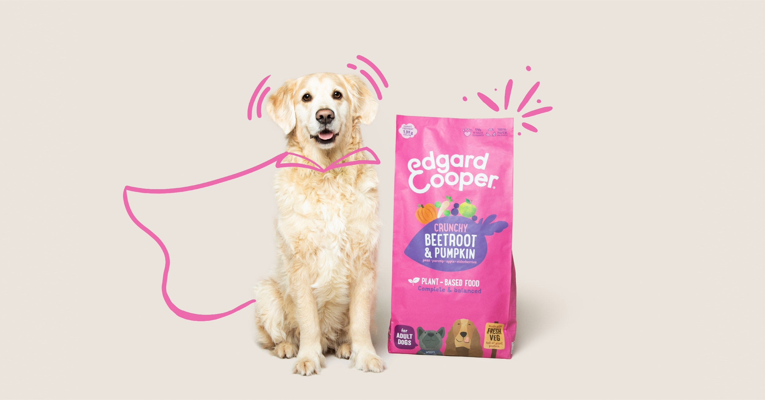 Picture of golden retriever sitting next to Edgard & Cooper plant-based kibble bag