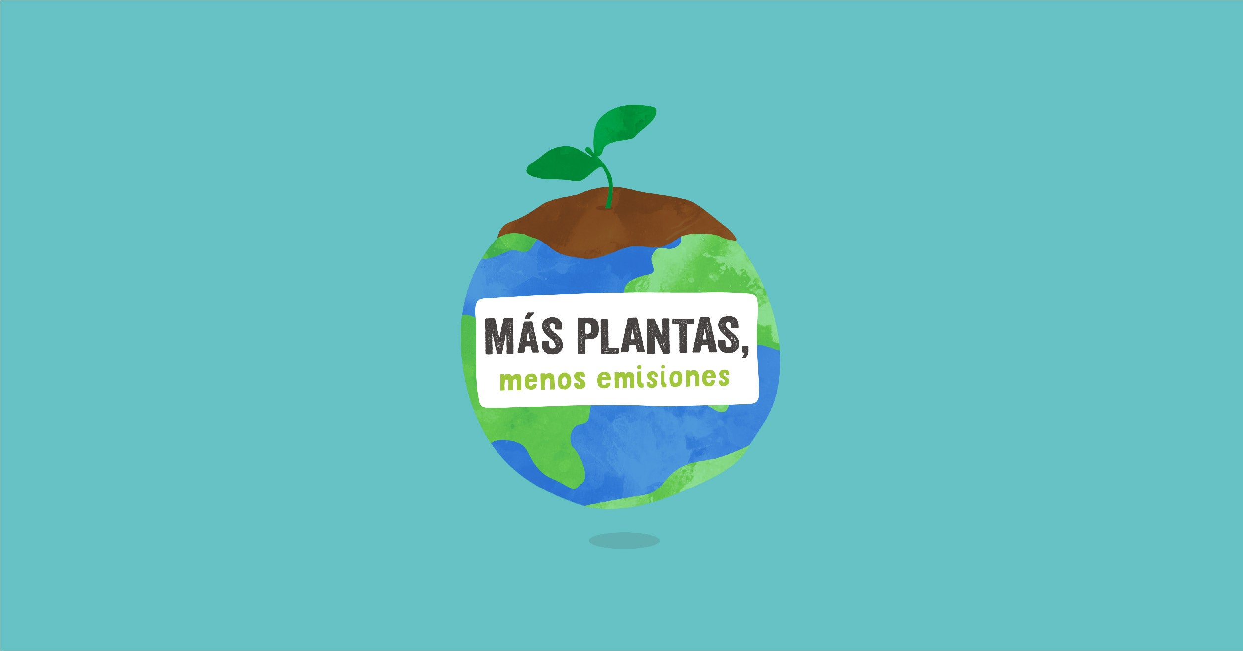Illustration of the Earth with title 'More plants fewer emissions'