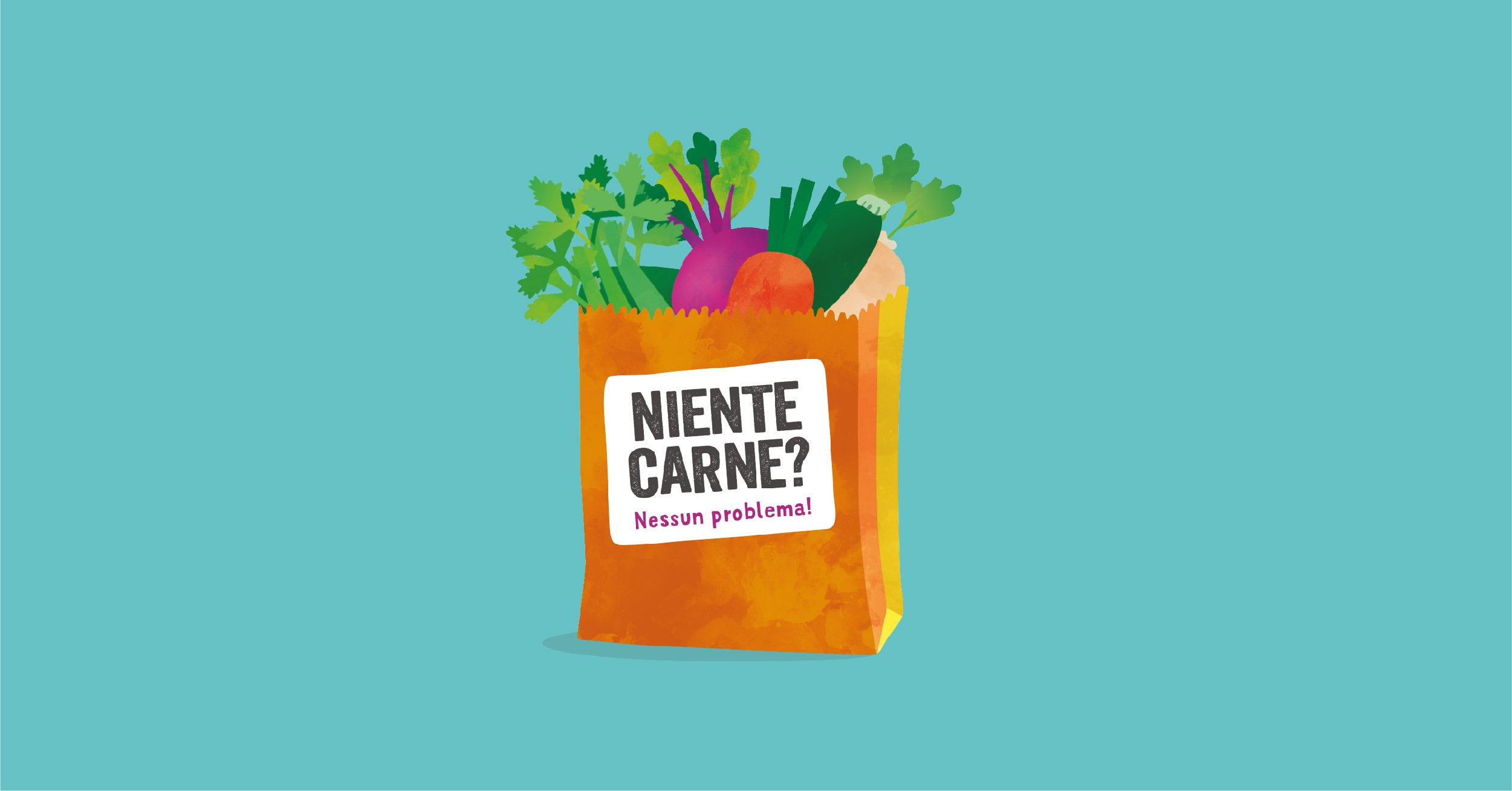 Illustration of paper bag with title 'No meat? No problem'
