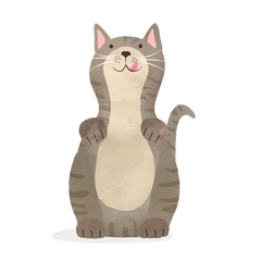 Illustration of cat with happy whiskers.