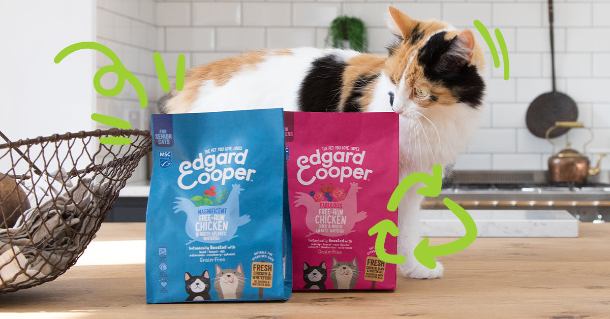 Image of cat sniffing Edgard & Cooper kibble bags