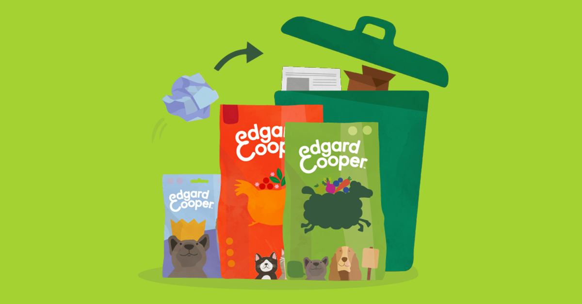 Illustration of Edgard & Cooper packaging and paper waste bin