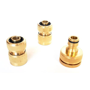 "3 Piece Brass Garden Hose Fitting Set 12mm (1/2"")"