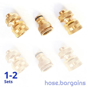 "3 Piece Brass Garden Hose Fitting Set 18 mm (3/4"")"