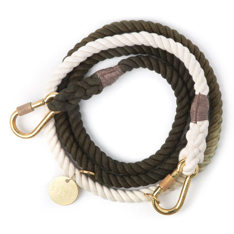 OLIVE OMBRE ROPE DOG LEASH, ADJUSTABLE