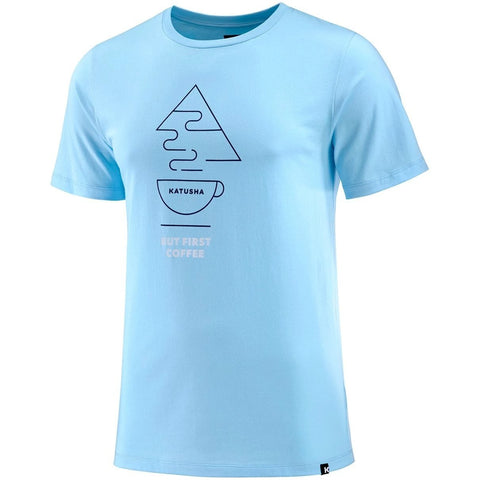 Katusha Cycling COTTON T-shirt Short Sleeve - Light Blue