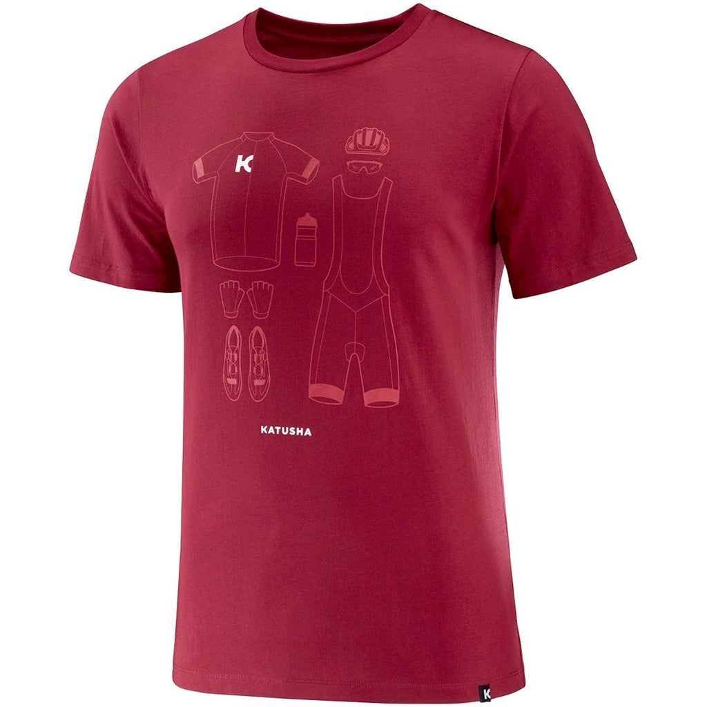 Katusha Cycling COTTON T-shirt Short Sleeve - Sangre
