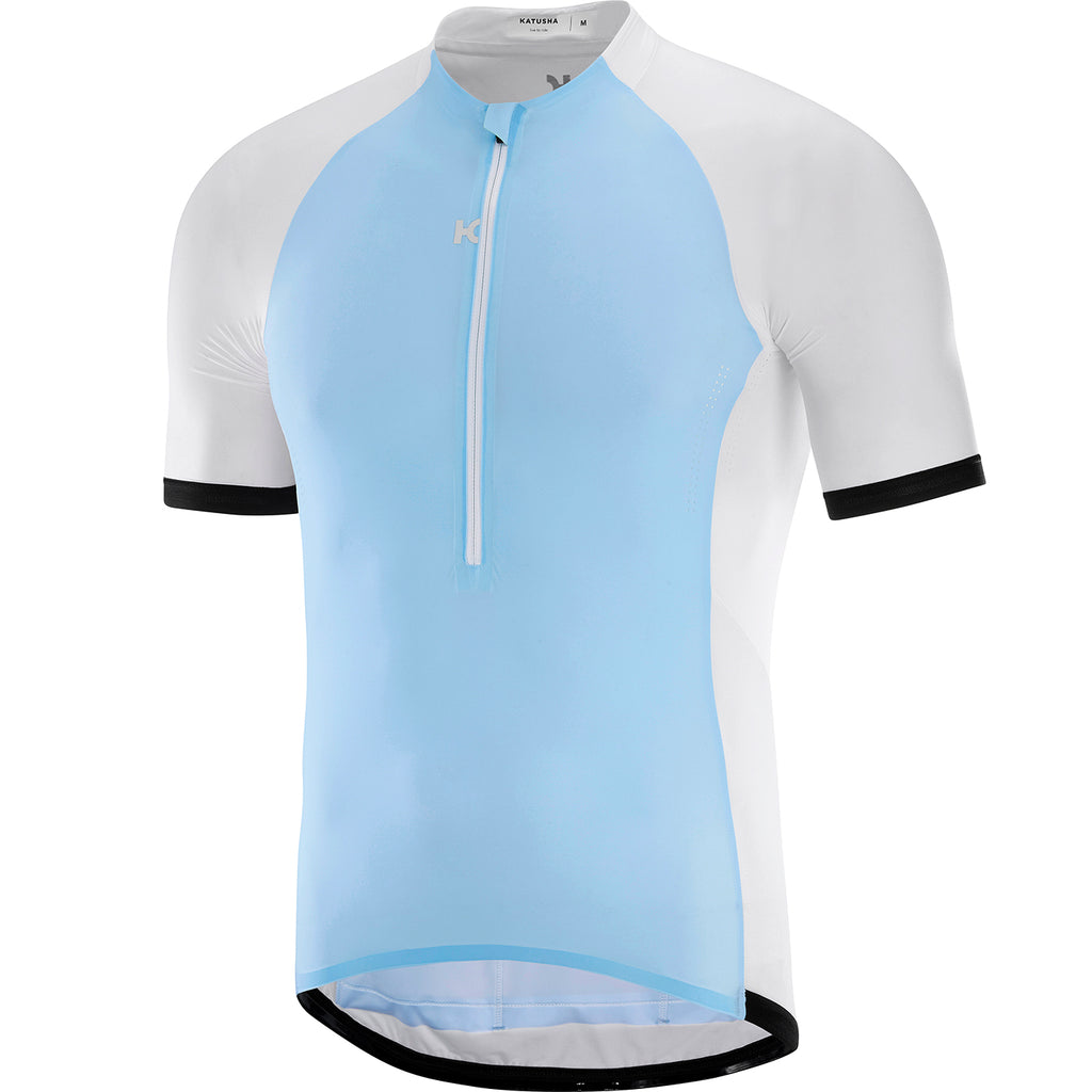 KATUSHA Men's NANO Half Zip Cycling Jersey - White / Light Blue