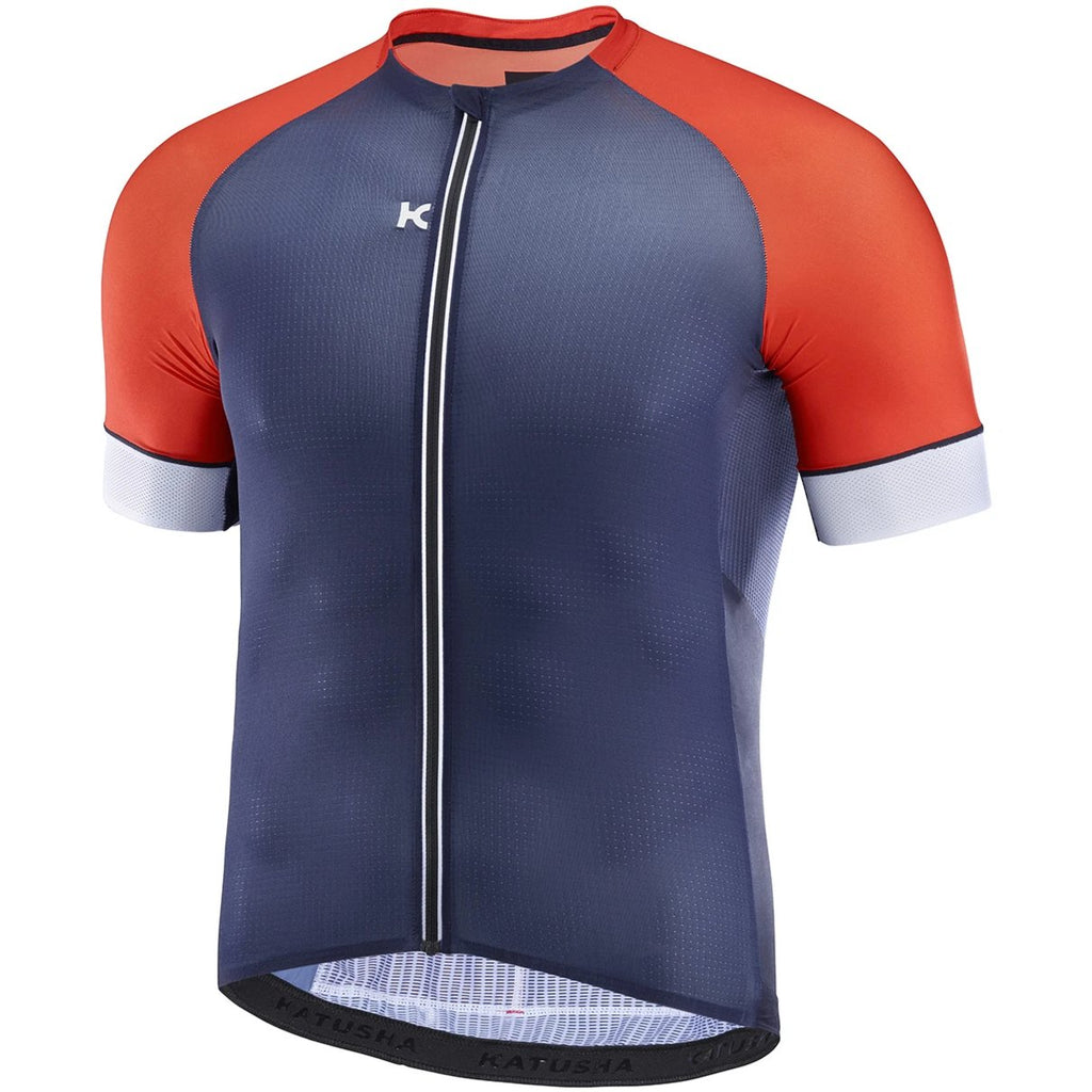 Katusha SUPERLIGHT Cycling Jersey Short Sleeve - Peacoat Blue Orange