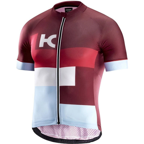 Katusha SUPERLIGHT Cycling Jersey Short Sleeve - Sangre Coral Blue