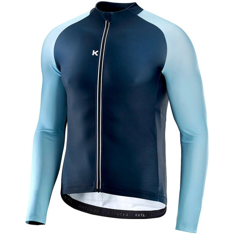 Katusha WARM Cycling Jersey Long Sleeve - Peacoat Light Blue