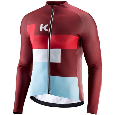 Katusha WARM Cycling Jersey Long Sleeve - Sangre Coral Light Blue
