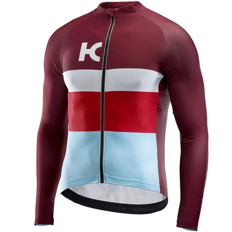 Katusha WARM Cycling Jersey Long Sleeve - Sangre Light blue