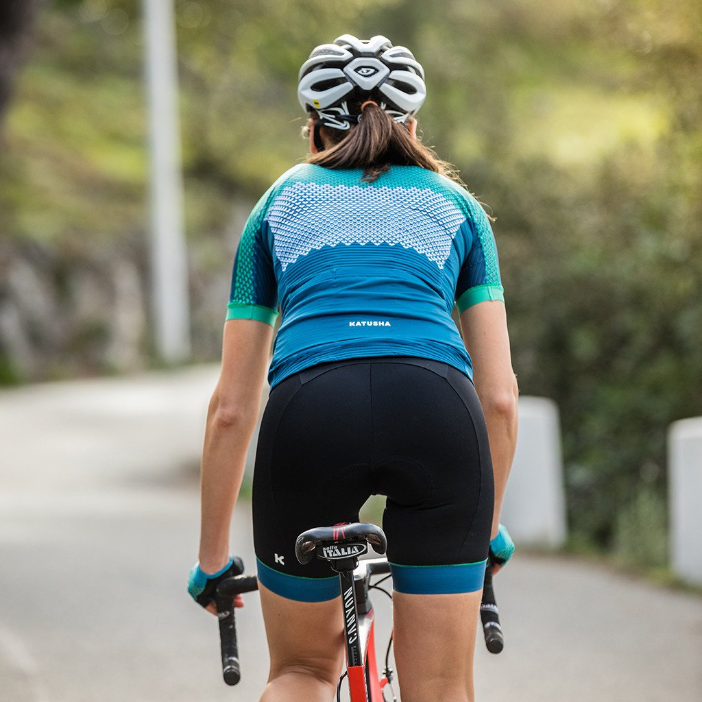 Katusha Womens ALLURE Cycling Shorts - Black Blue Sapphire