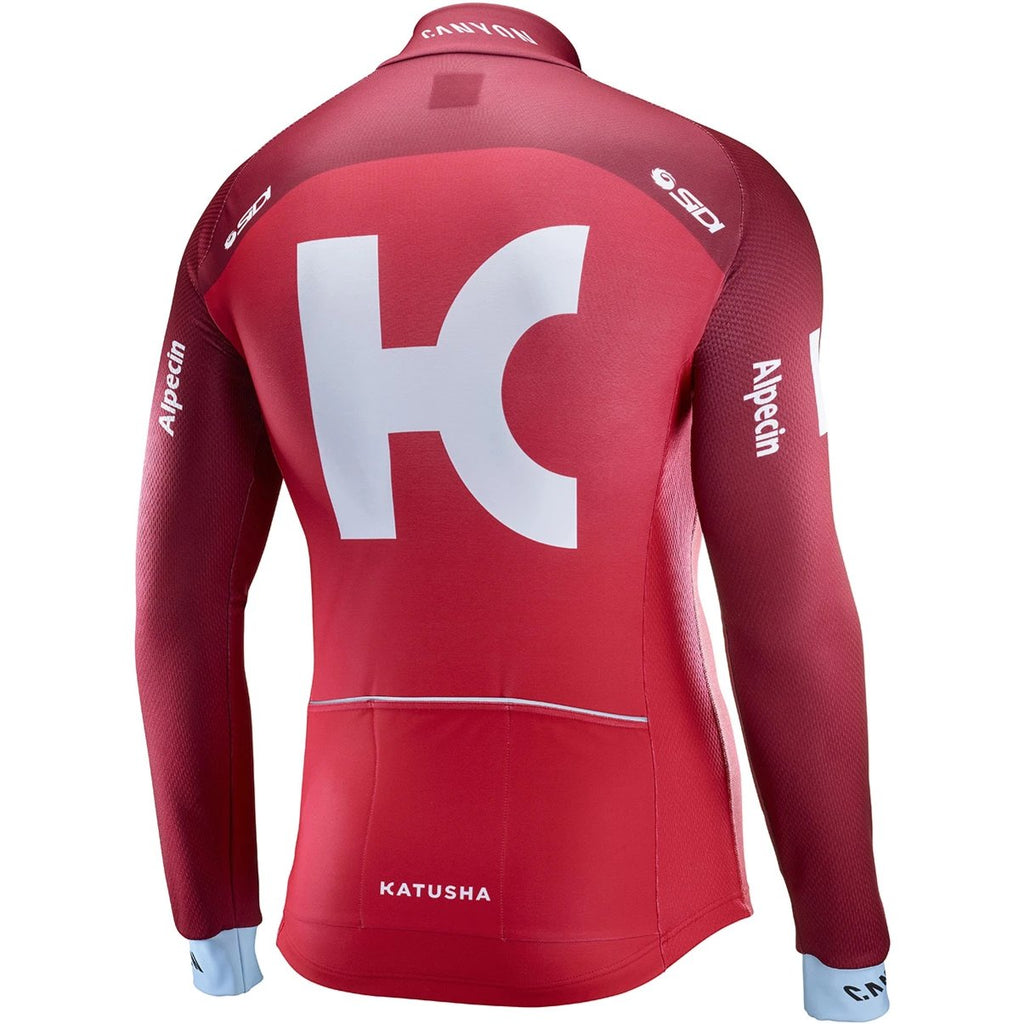 Katusha REPLICA Long Sleeve Cycling Jersey 2017 - Coral Sangre