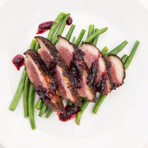 Rhubarb & Ginger Glazed Duck Breasts