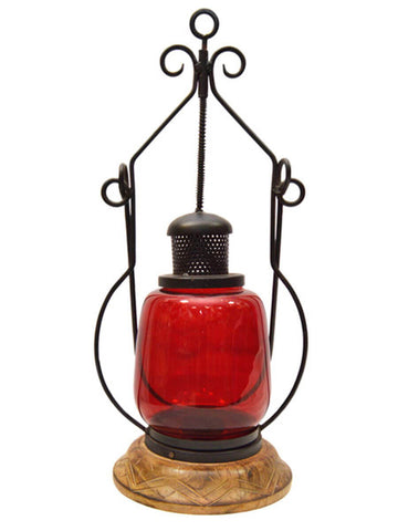 Red Glass Antique Lamo