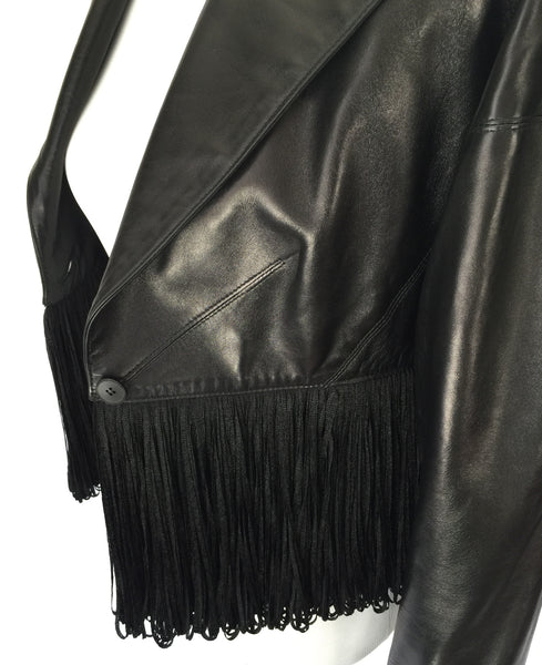 Alaïa Black Leather 80s Fringe Jacket