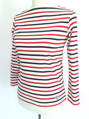Blue-and-red striped French top