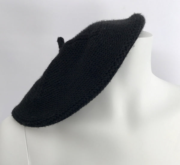 French Knitted Black Beret